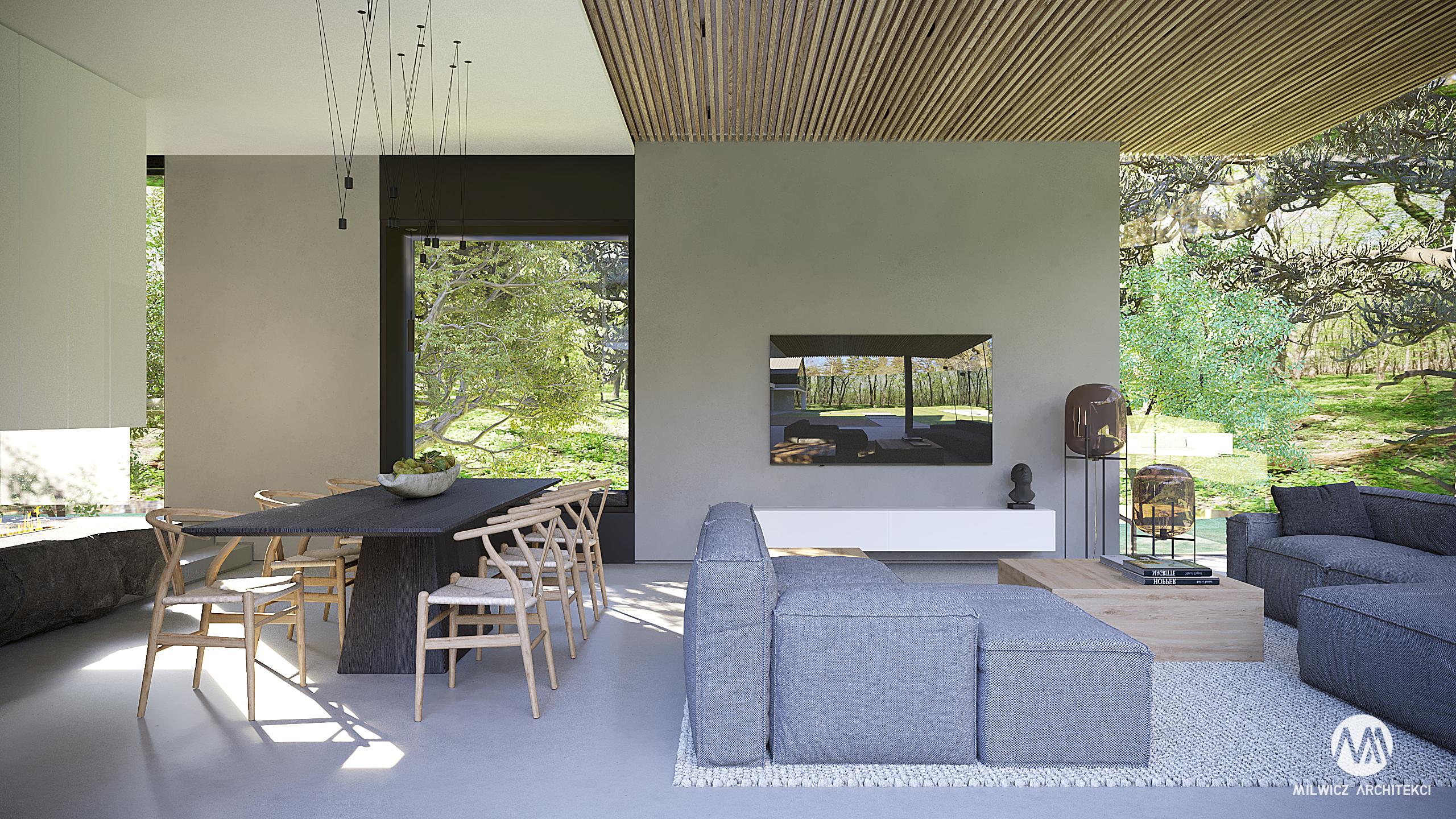 projekt Mielno, projekt indywidualny, minimalizm, beton architektoniczny, duże przeszklenia, sufit drewniany