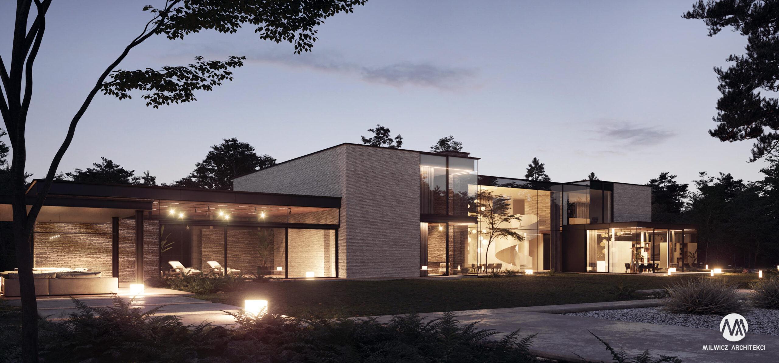 projekty indywidualne, nowoczesna architektura, modernizm, płaskie dachy, duże okna