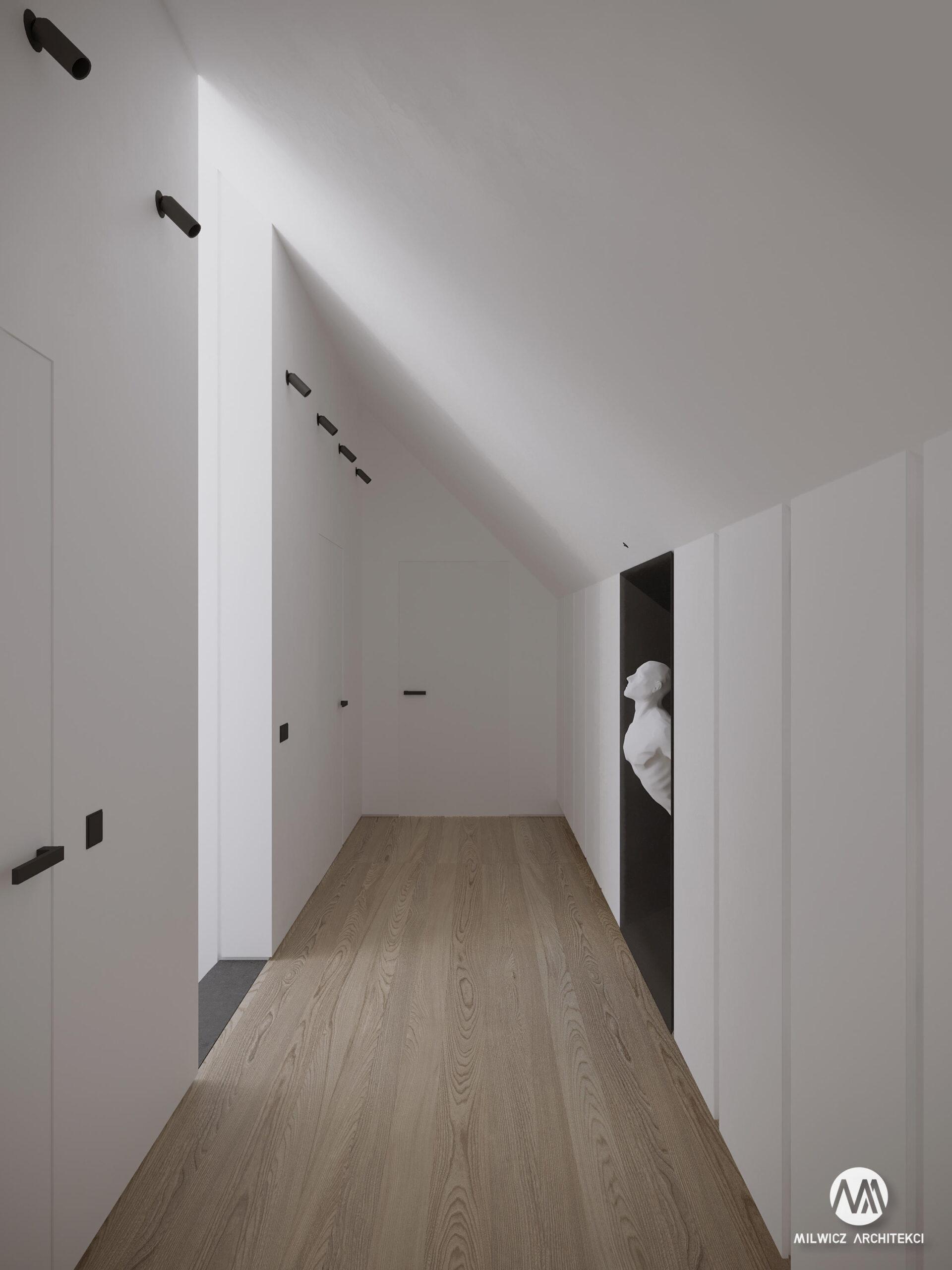 projekty indywidualne, projekty wnętrz, minimalizm, nowoczesne wnętrze, korytarz, rzeźba,
