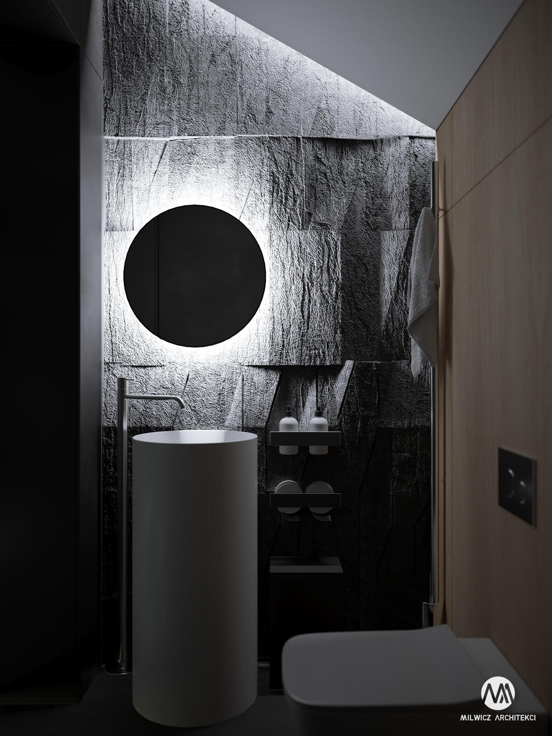projekty indywidualne, projekty wnętrz, minimalizm, WC, łazienka, ciemny WC