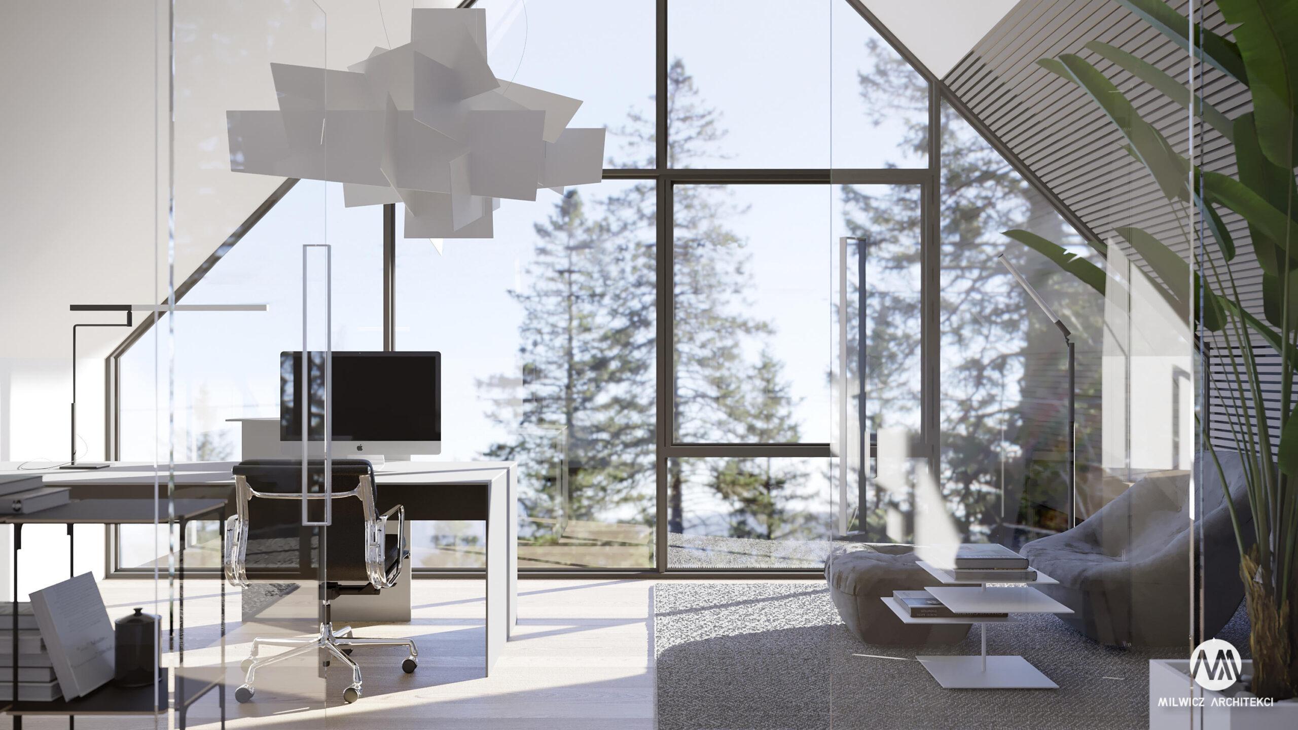 projekty indywidualne, projekty wnętrz, minimalizm, nowoczesna stodoła, gabinet, stodoła z dużymi przeszkleniami