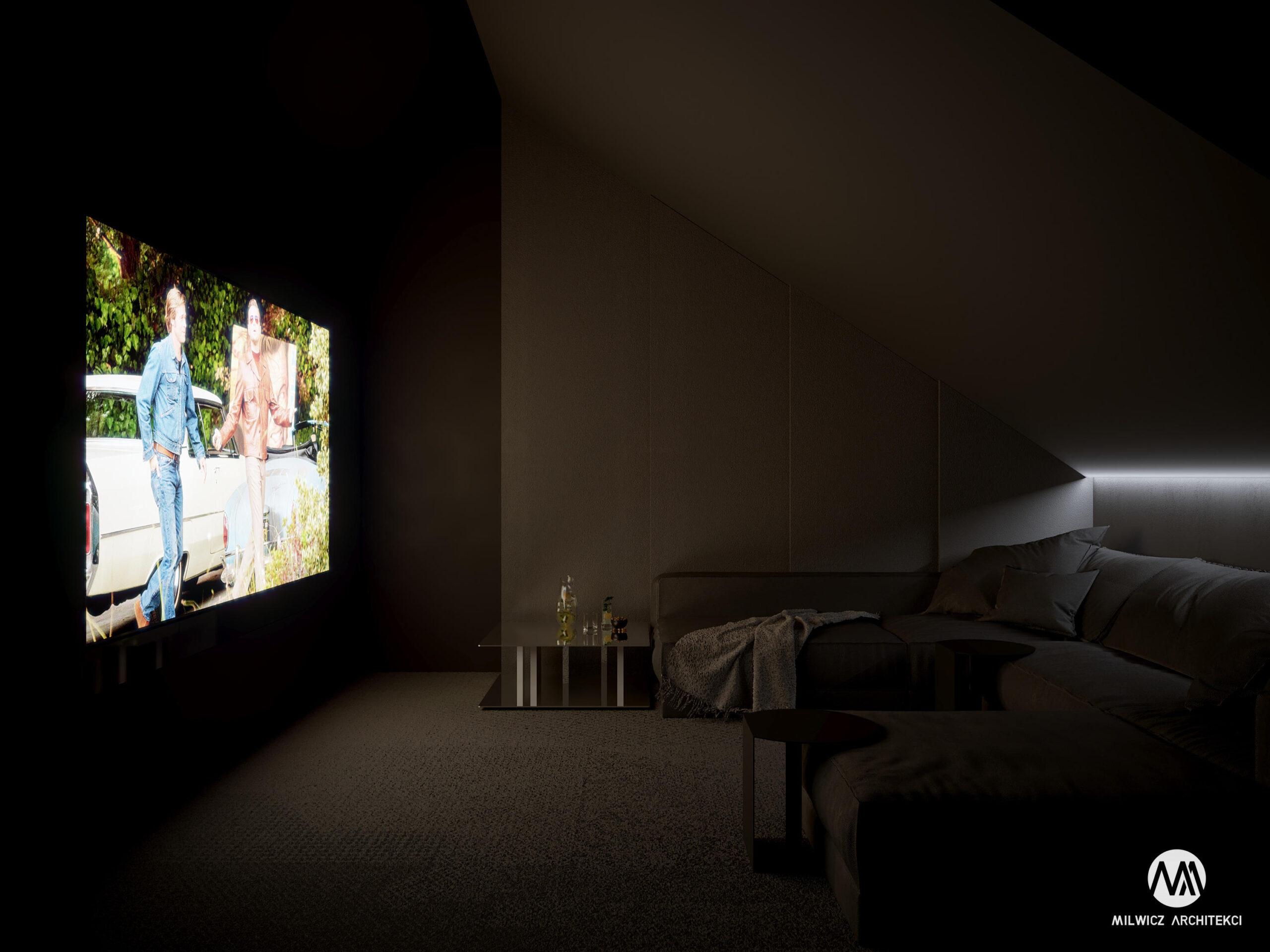 projekty indywidualne, projekty wnętrz, minimalizm, nowoczesna stodoła, sala kinowa