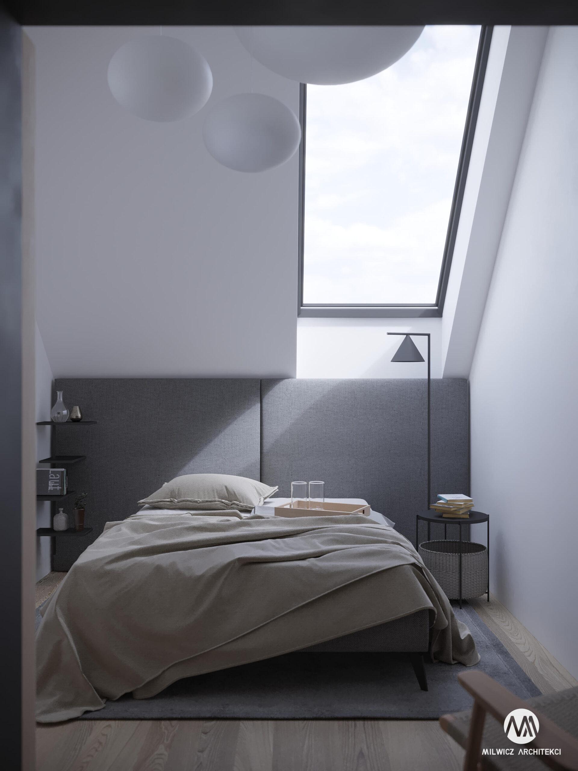 projekty indywidualne, projekty wnętrz, minimalizm, nowoczesna stodoła, sypialnia dla gości