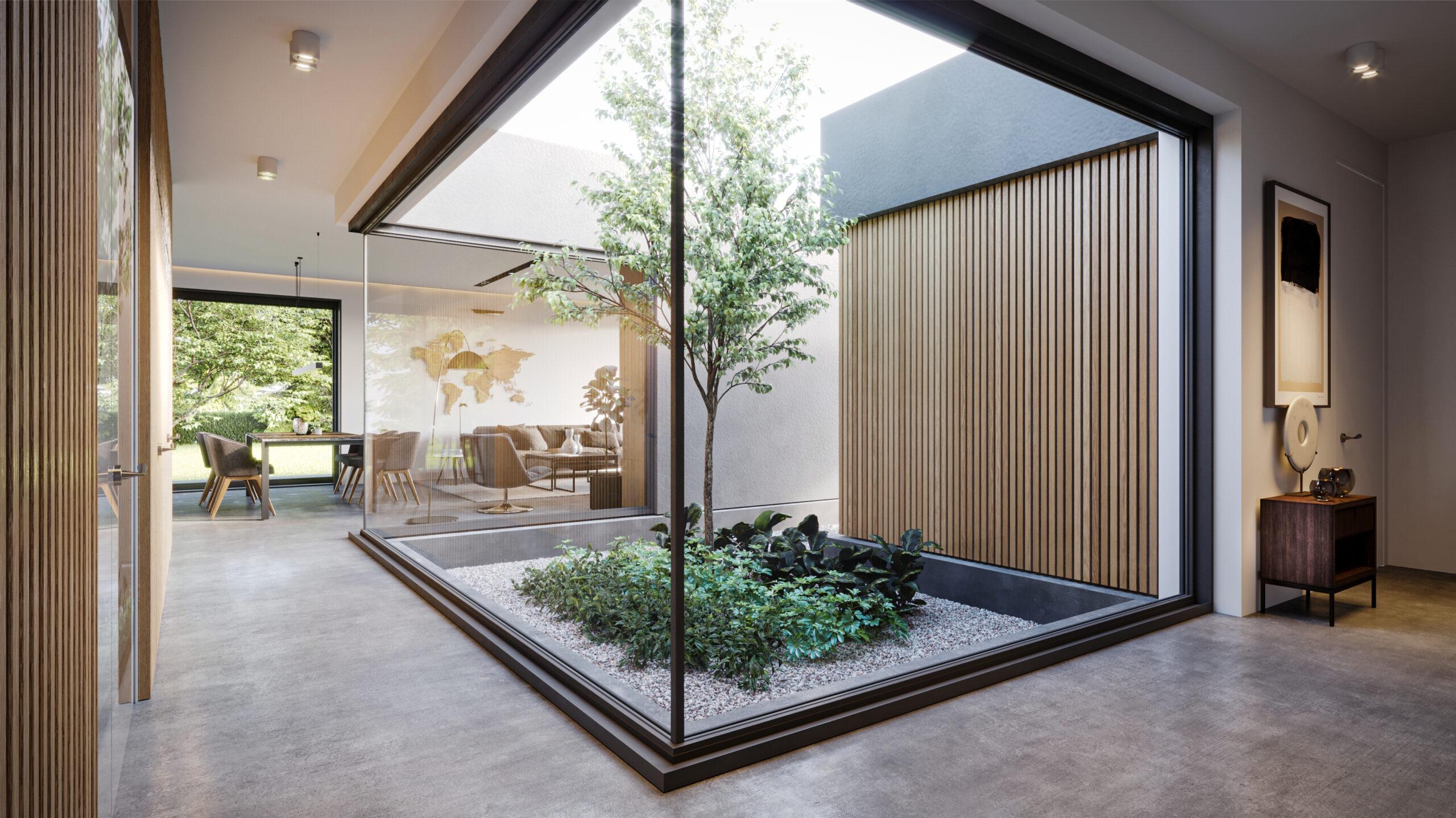 projekty wnętrz, projekty gotowe, dom z dziedzińcem, dom z drzewem