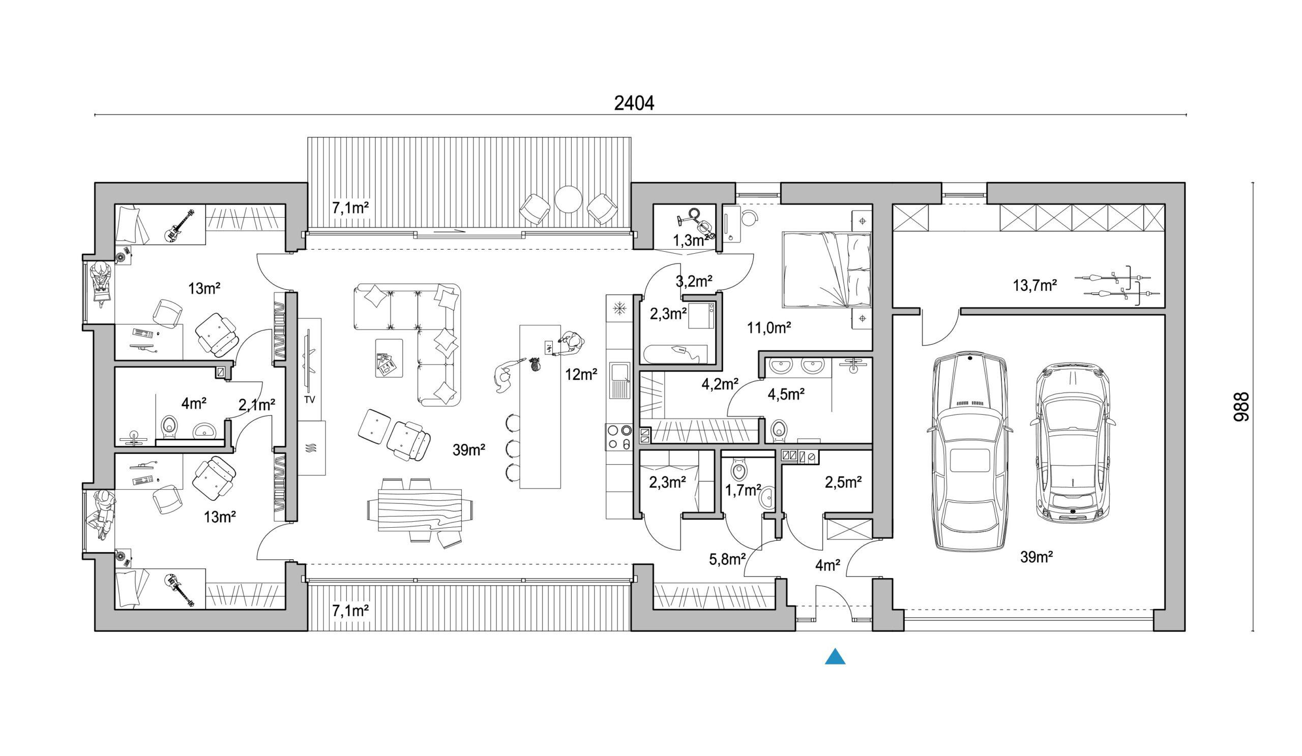 KT - D125v2, dom z garażem, rzut parteru, projekt domu