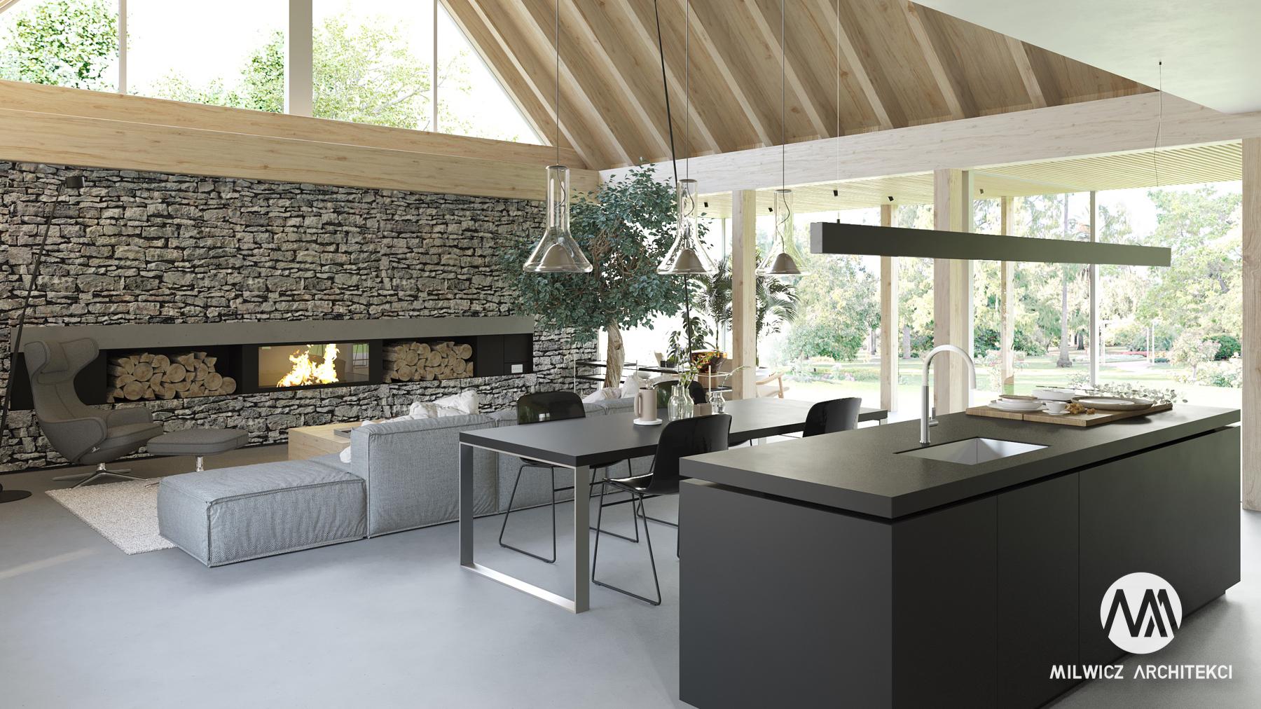 projekty indywidualne, projekty wnętrz, nowoczesna stodoła, kominek