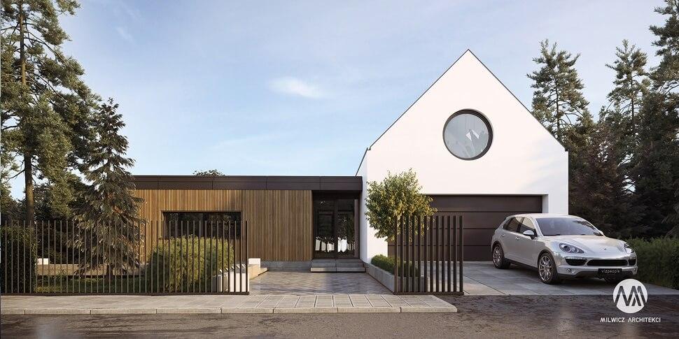 D170, projekt domu jednorodzinnego, dom jednorodzinny z poddaszem użytkowym, projekty gotowe, nowoczesna stodoła, nowoczesna architektura, stodoła z dużymi przeszkleniami, dom z garażem