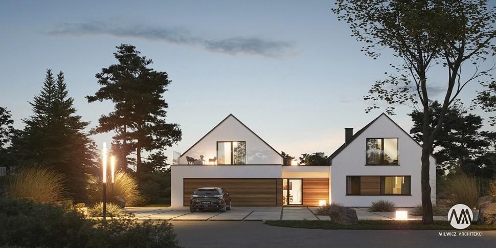 projekt domu jednorodzinnego, dom jednorodzinny z poddaszem użytkowym, projekty gotowe, nowoczesna stodoła, nowoczesna architektura, stodoła z dużymi przeszkleniami, dom z garażem