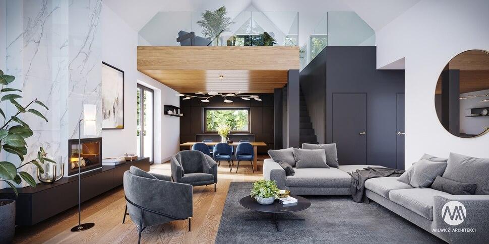 projekty gotowe, domy piętrowe, projekty wnętrz, nowoczesna architektura, nowoczesna stodoła, antresola