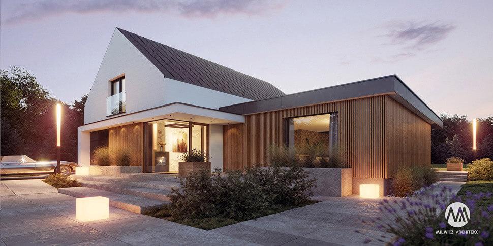 projekt domu jednorodzinnego, dom jednorodzinny z poddaszem użytkowym, projekty gotowe, nowoczesna stodoła, nowoczesna architektura, stodoła z dużymi przeszkleniami