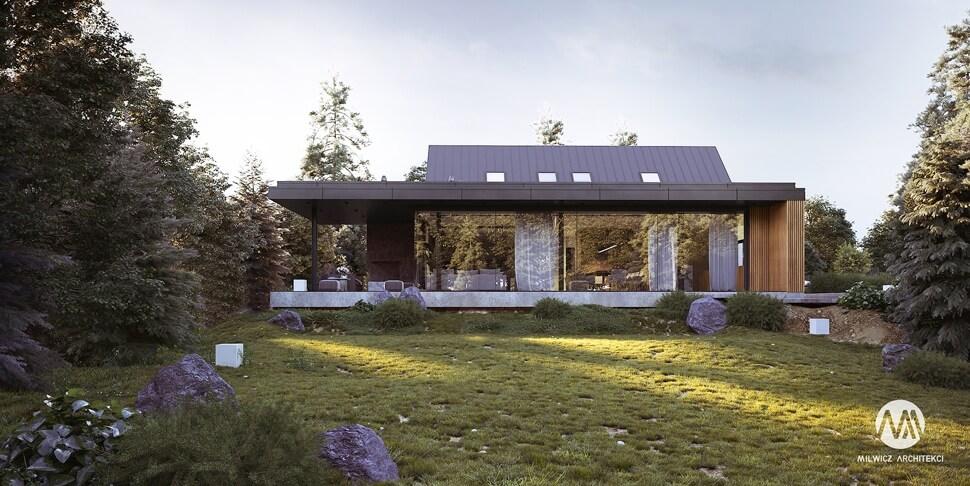 D170, projekt domu jednorodzinnego, dom jednorodzinny z poddaszem użytkowym, projekty gotowe, nowoczesna stodoła, nowoczesna architektura, stodoła z dużymi przeszkleniami