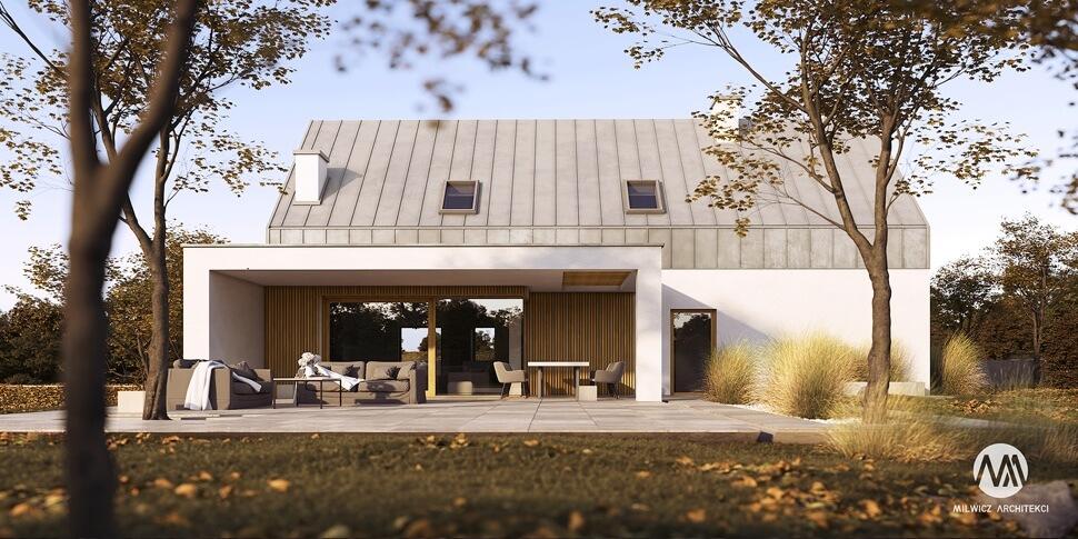 D126, projekt domu jednorodzinnego, dom jednorodzinny z poddaszem użytkowym, projekty gotowe, nowoczesna stodoła, nowoczesna architektura, stodoła z dużymi przeszkleniami