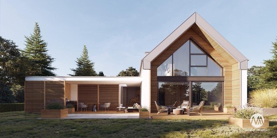 projekt domu jednorodzinnego, dom jednorodzinny z poddaszem użytkowym, projekty gotowe, nowoczesna stodoła, nowoczesna architektura, stodoła z dużymi przeszkleniami, rozbudowa
