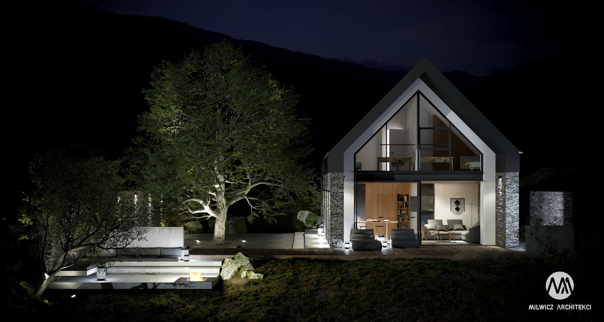 D81, projekt domu jednorodzinnego, dom jednorodzinny z poddaszem użytkowym, projekty gotowe, nowoczesna stodoła, nowoczesna architektura, dom z drzewem