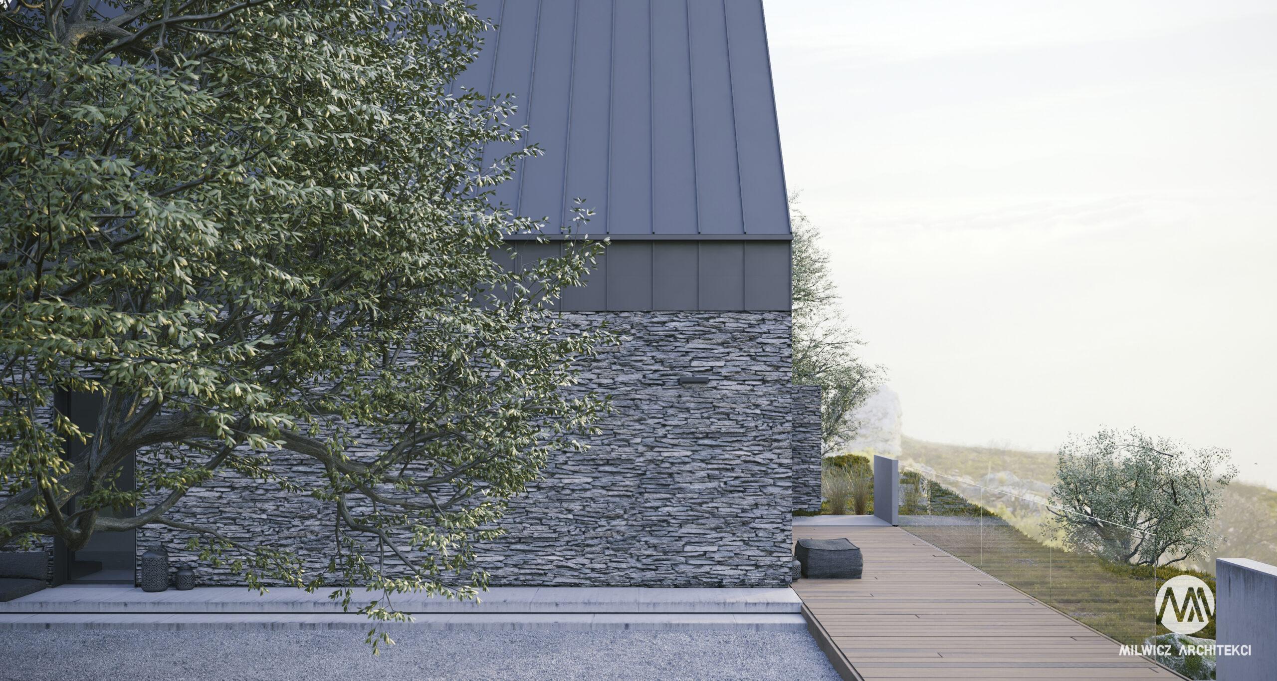 D81, projekt domu jednorodzinnego, projekty gotowe, nowoczesna stodoła, nowoczesna architektura, dom z drzewem