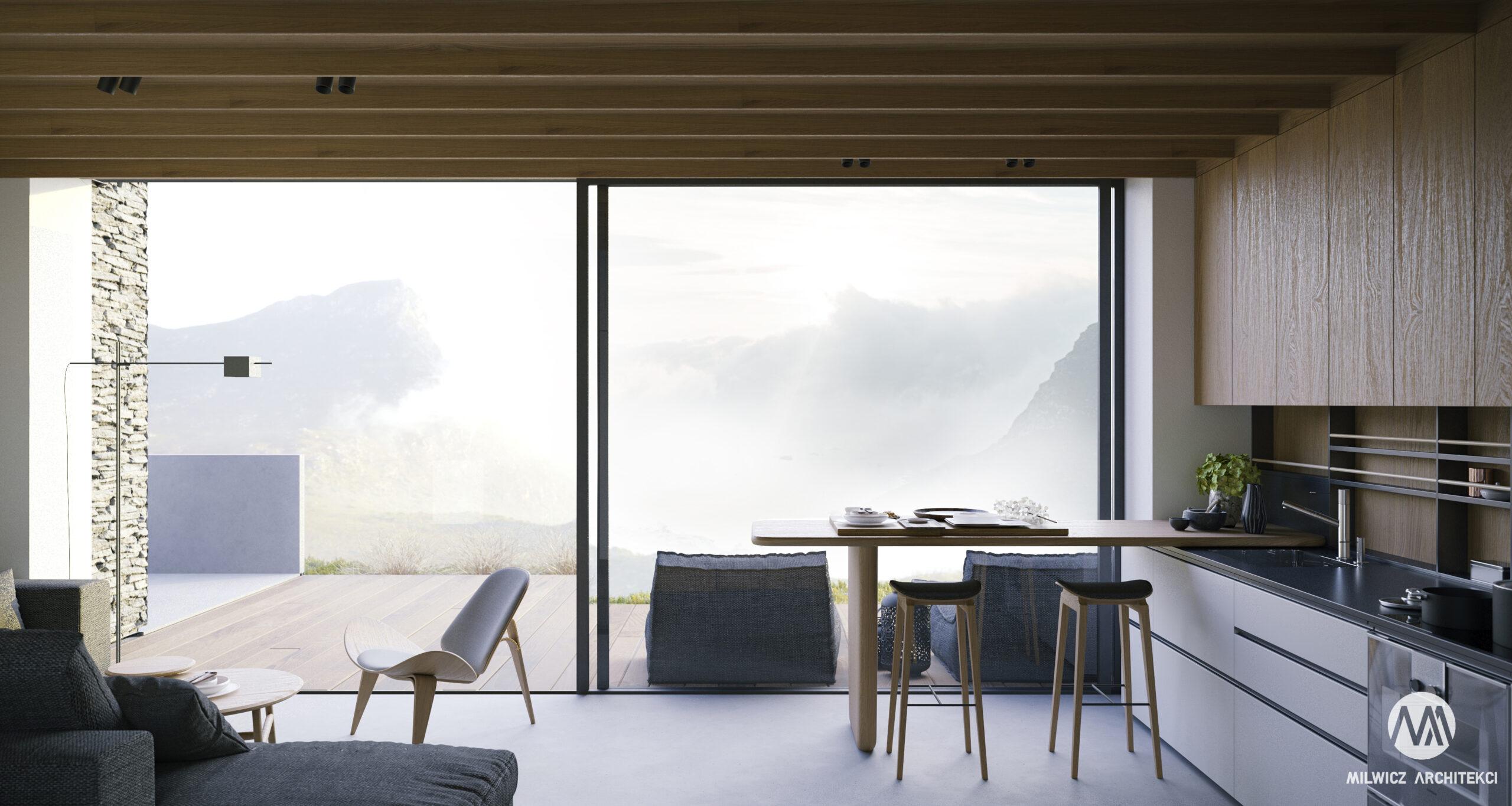 D81, dom jednorodzinny z poddaszem użytkowym, projekty wnętrz, nowoczesna stodoła