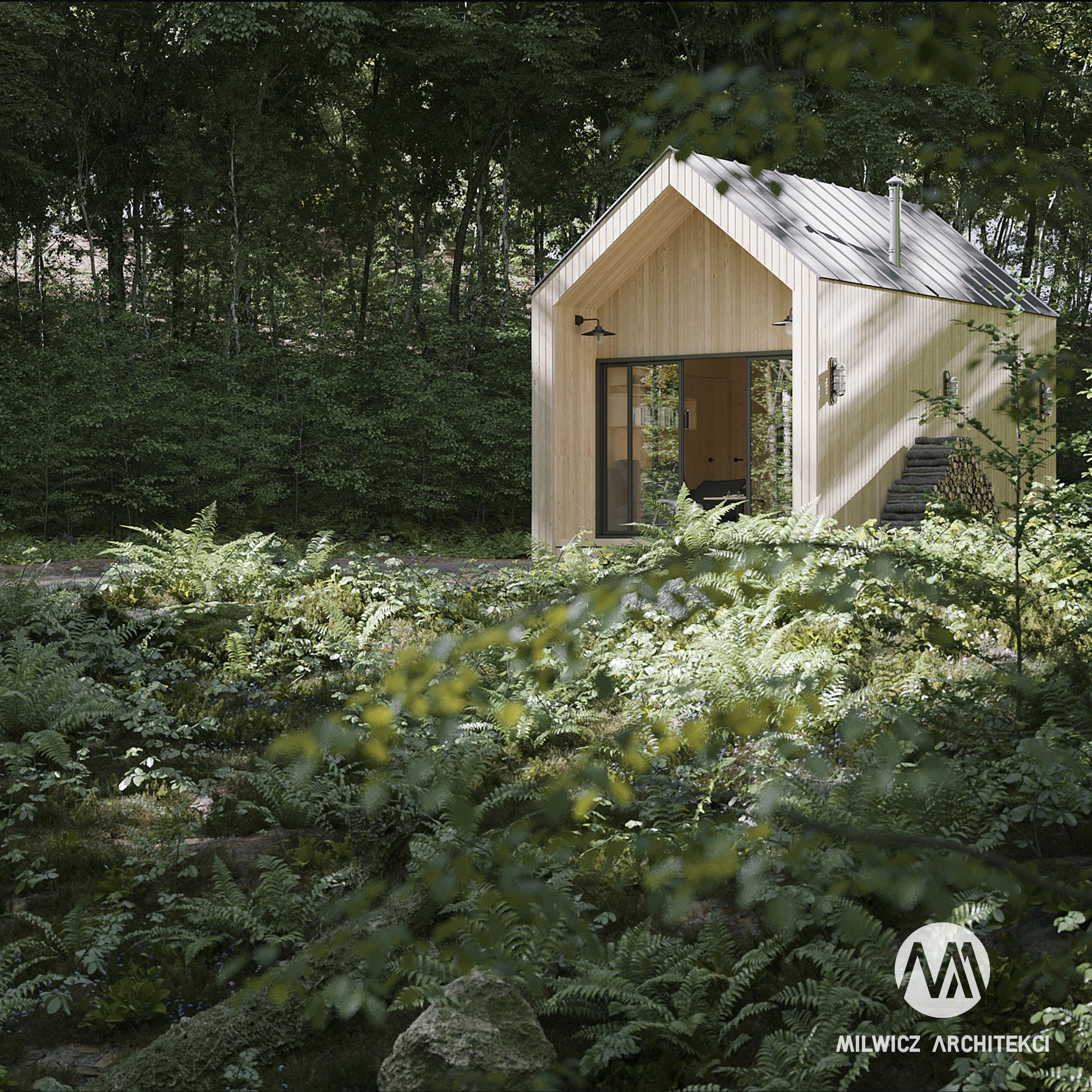 D16, projekty do 35m2, projekt bez pozwolenia, dom na zgłoszenie, dom z drzewem, nowoczesna stodoła