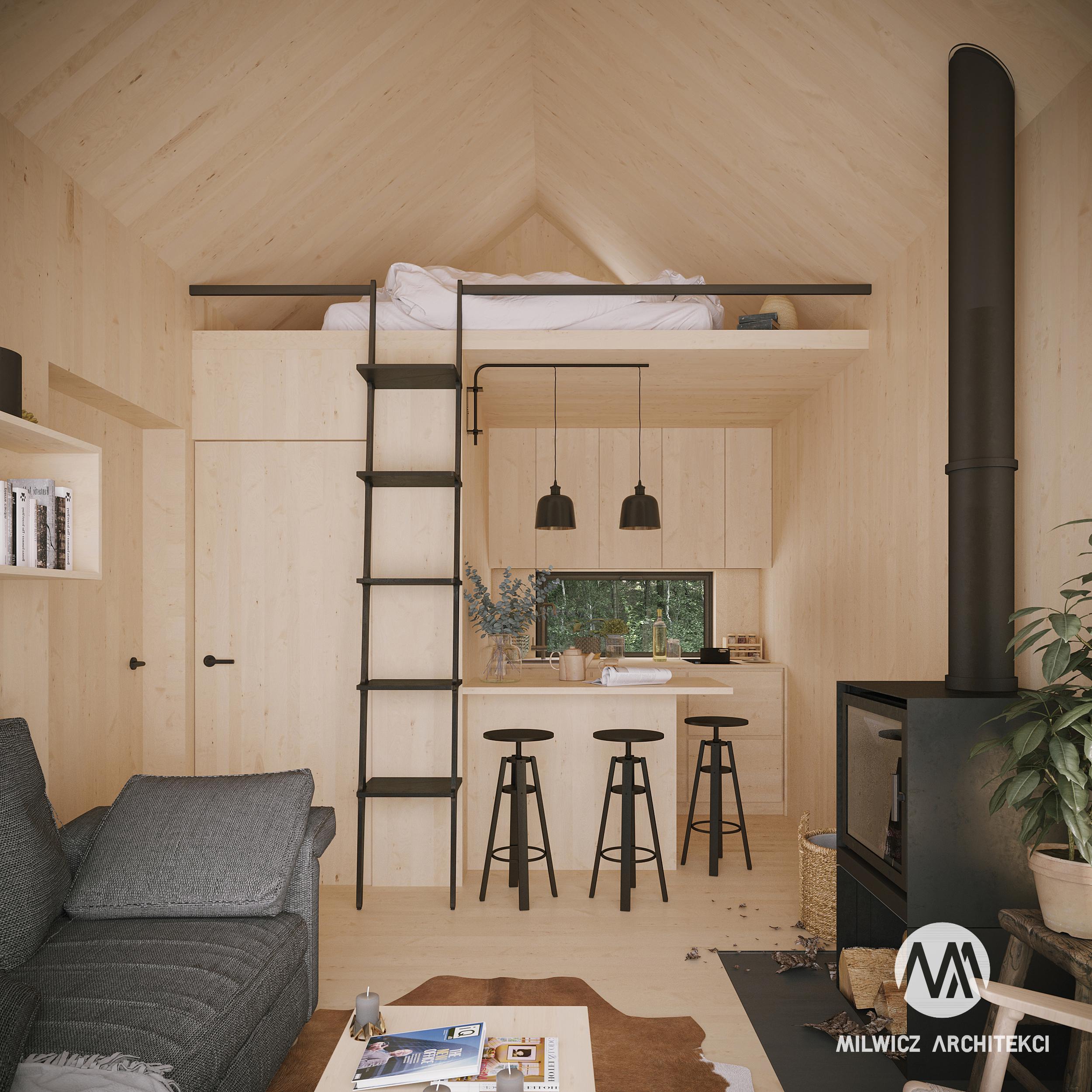 D16, projekty do 35m2, projekty wnętrz, projekt bez pozwolenia, dom na zgłoszenie, nowoczesna stodoła, kominek, antresola