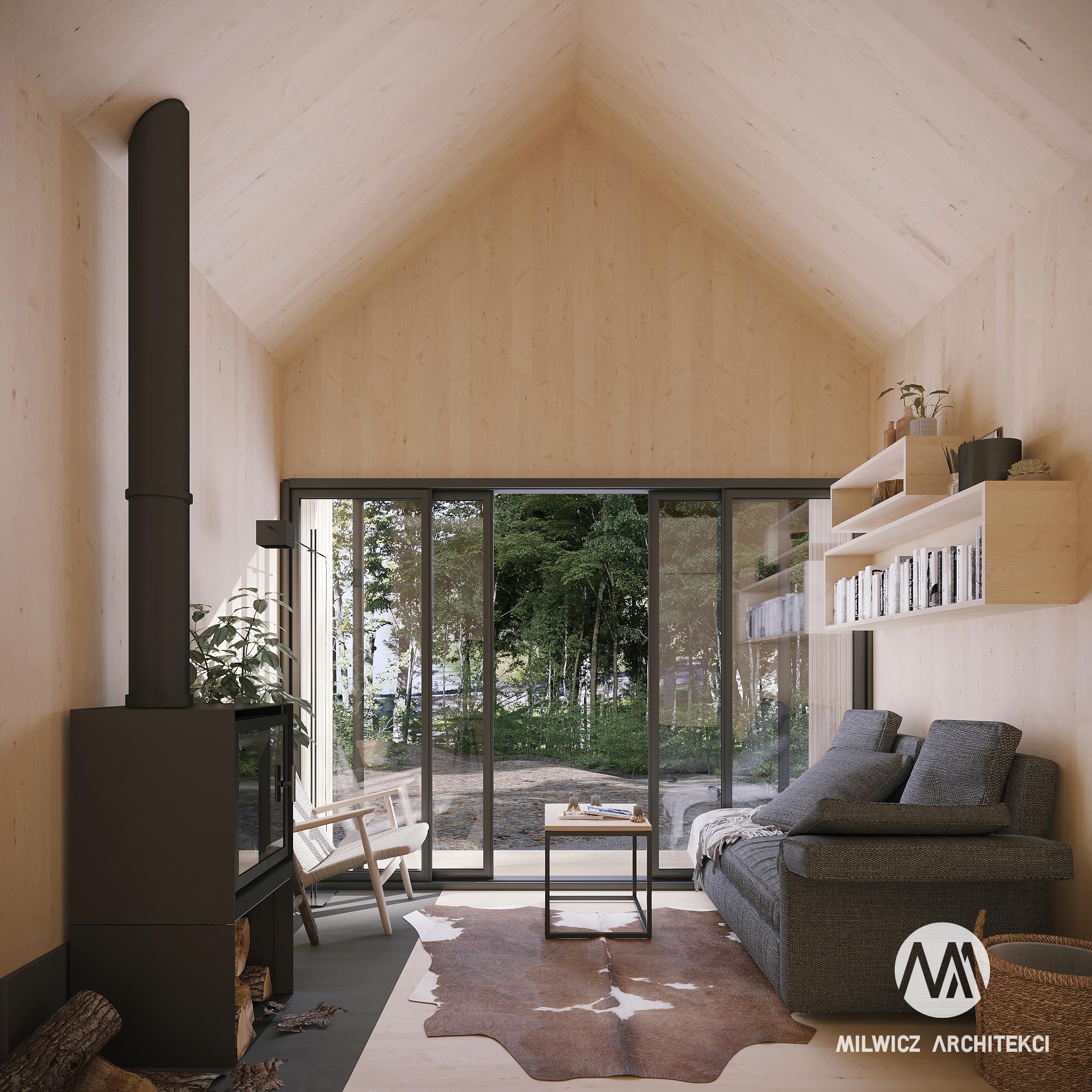 D16, projekty do 35m2, projekty wnętrz, projekt bez pozwolenia, dom na zgłoszenie, nowoczesna stodoła, kominek
