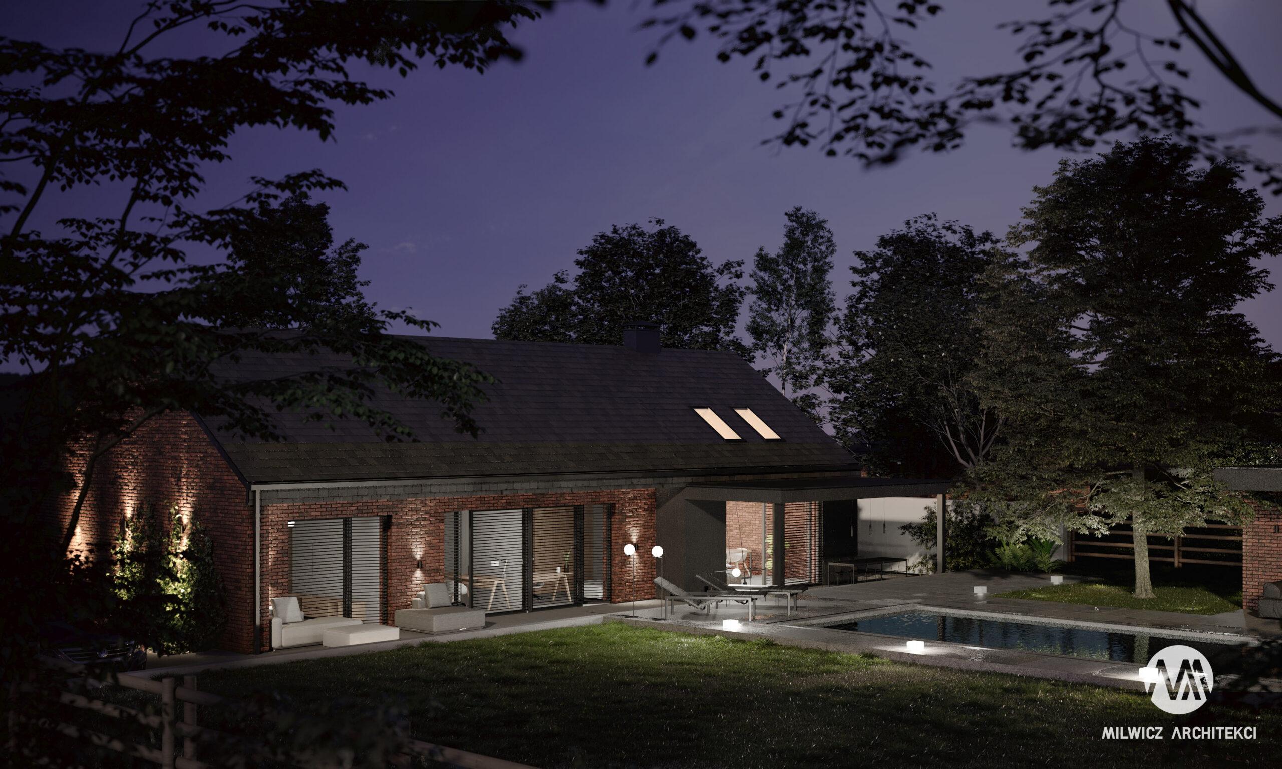 D114, dom z cegły, projekt domu, projekt domu jednorodzinnego, projekty gotowe, nowoczesna stodoła, domy parterowe, basen
