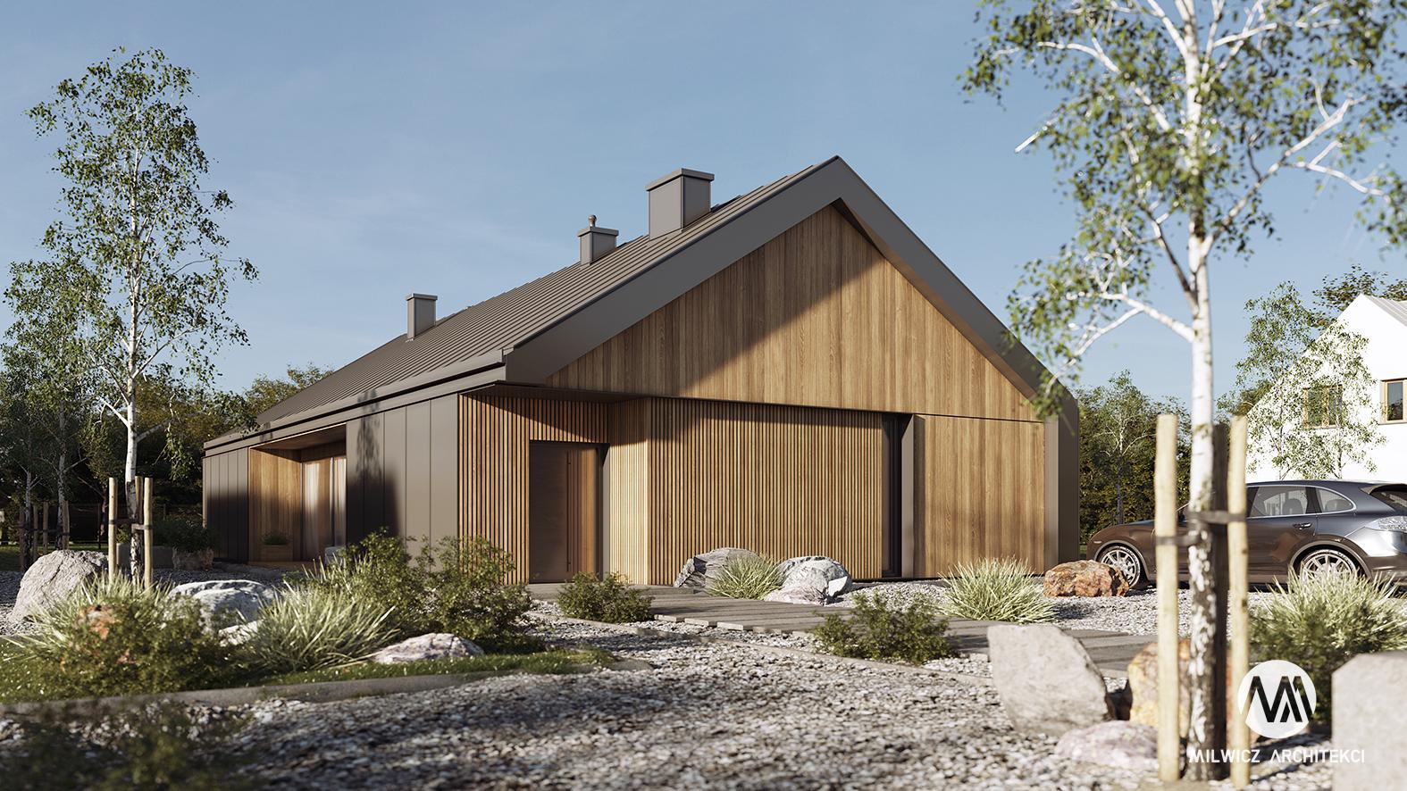 projekt D125v2, projekt gotowy, nowoczesna stodoła, elewacja drewniana