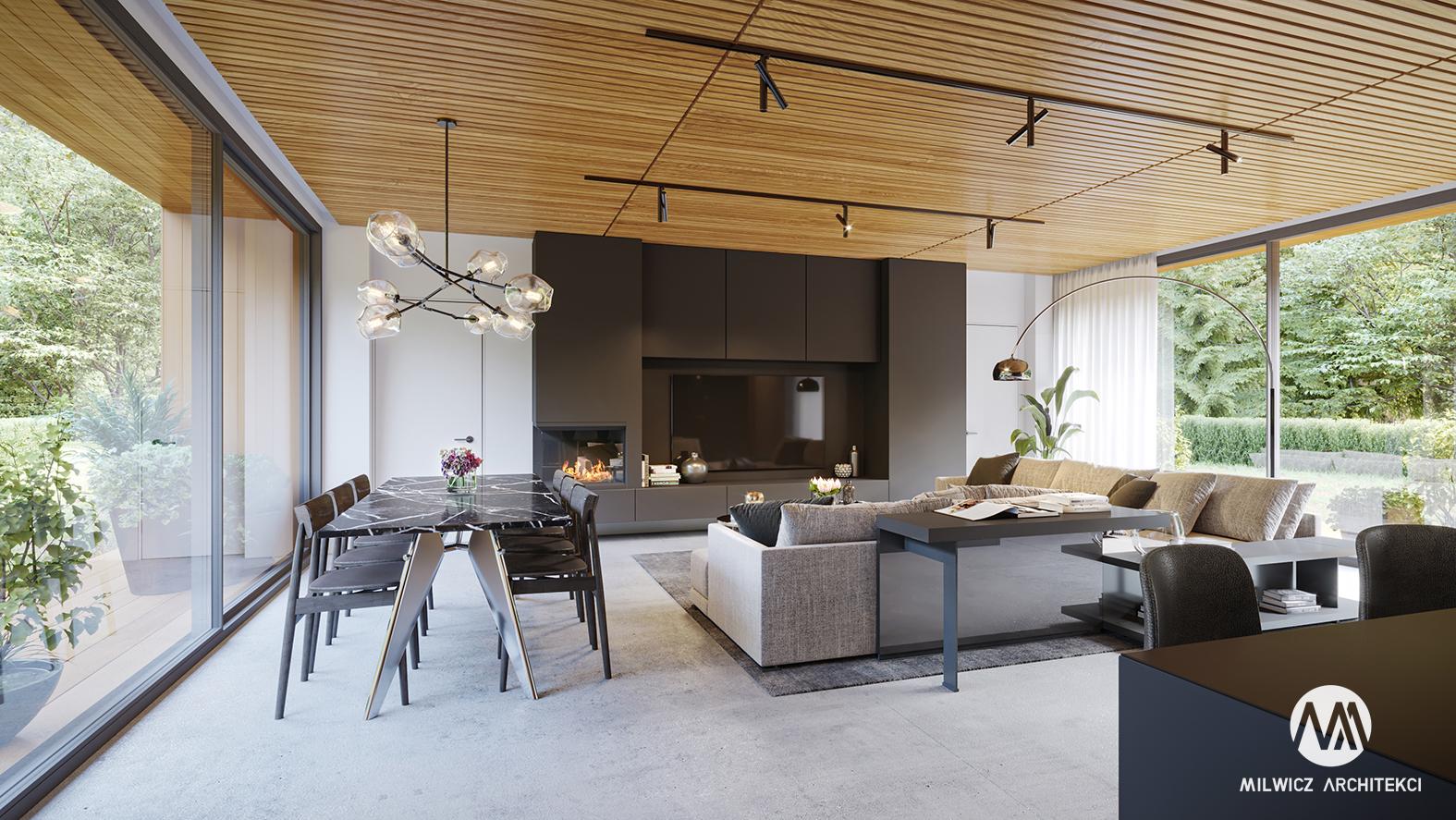 projekt D125v2, projekt wnętrz, minimalizm, nowoczesny salon, sufit drewniany