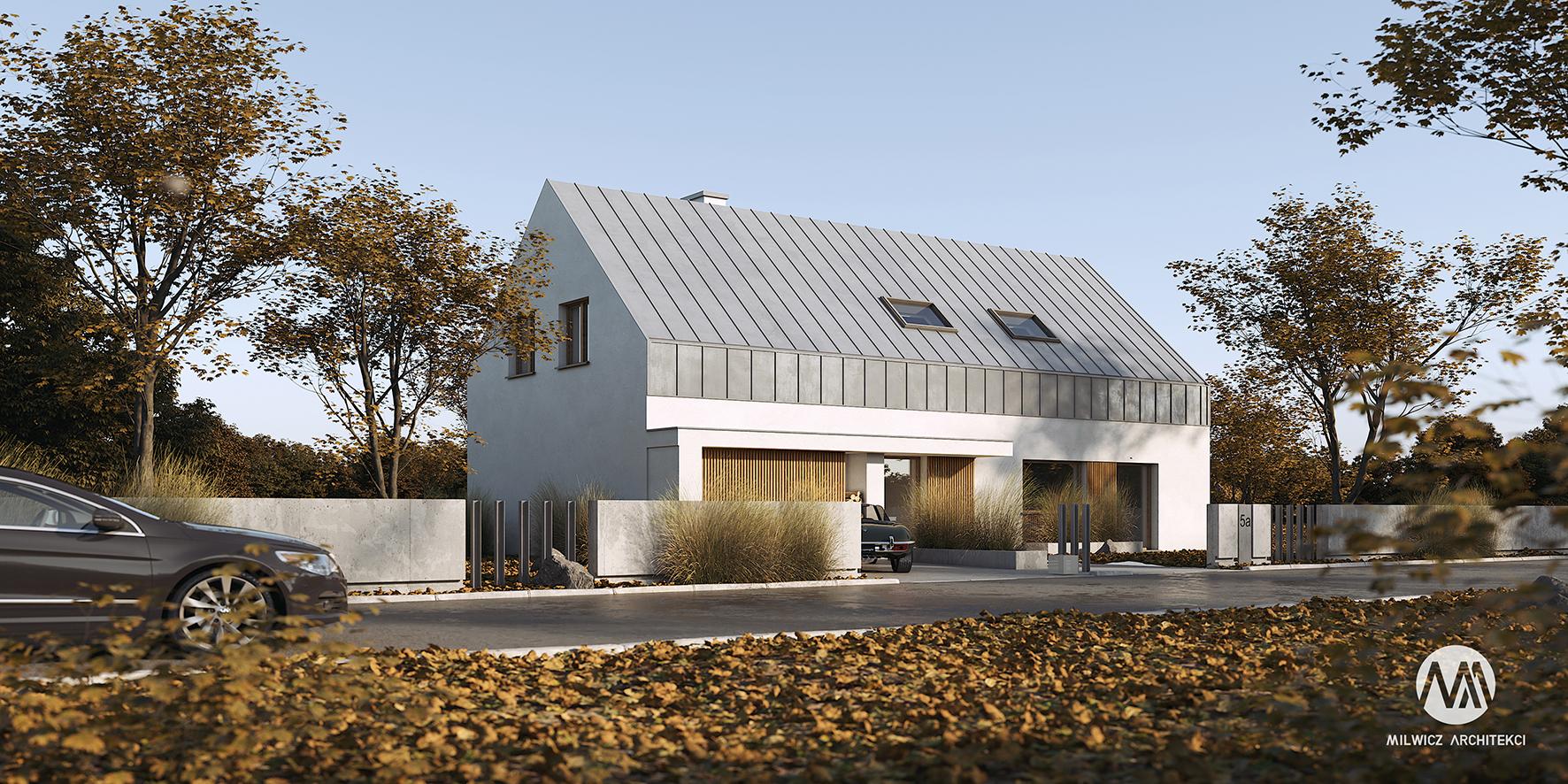 projekt D126, taras zadaszony, nowoczesna stodoła, projekt gotowy, nowoczesna architektura