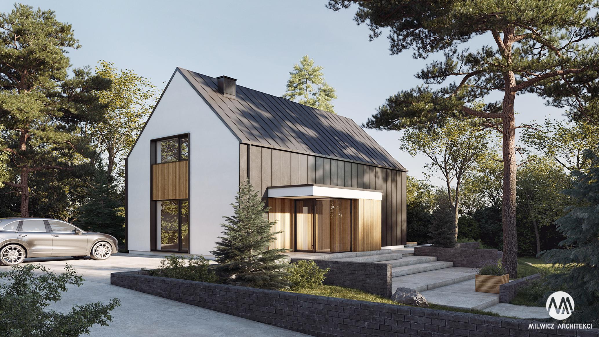 projekt D71, nowoczesna stodoła, dom jednorodzinny z poddaszem użytkowym, dom modułowy