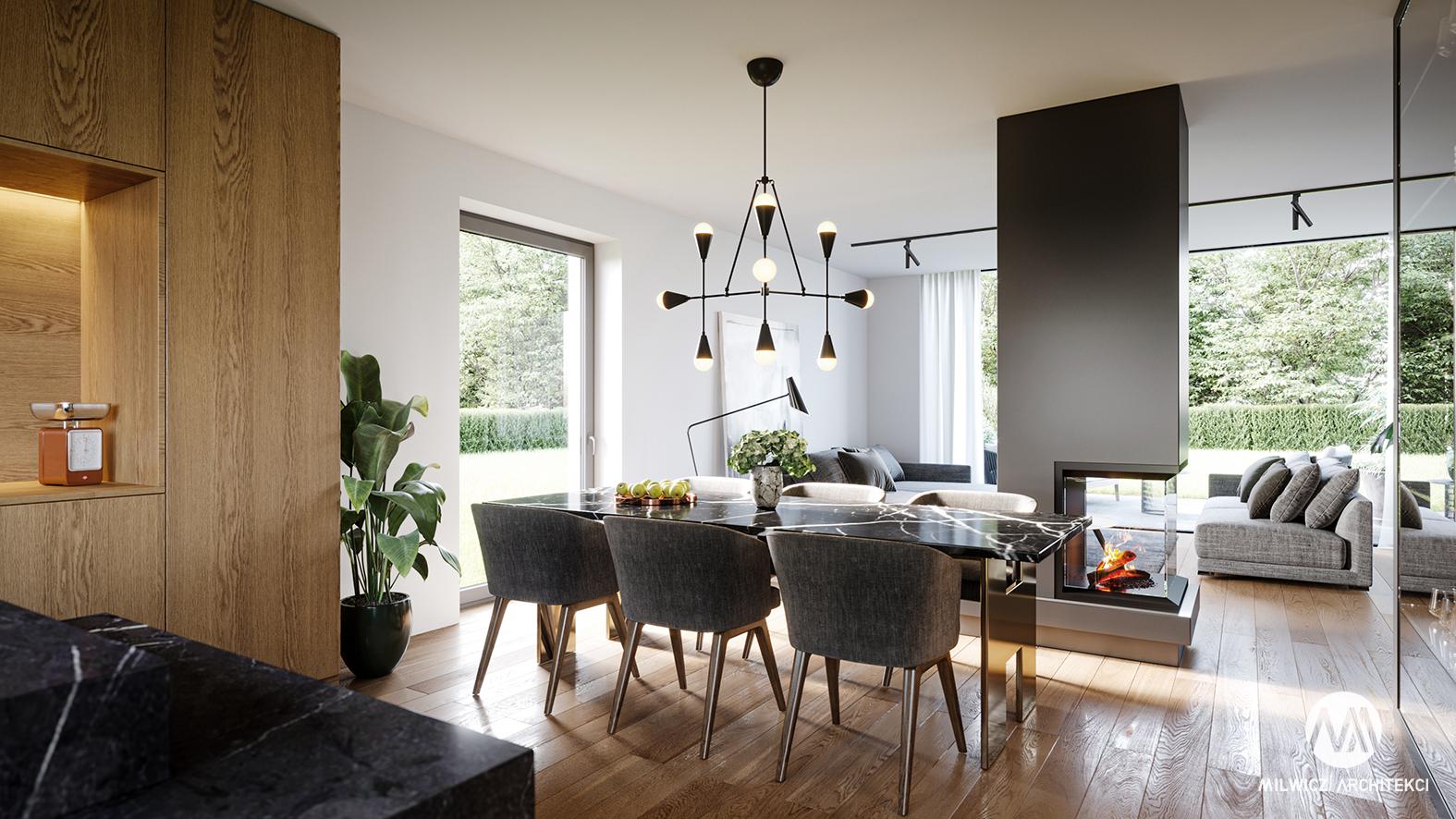 projekt D71, projekt wnętrz, nowoczesne wnętrza, salon, kominek