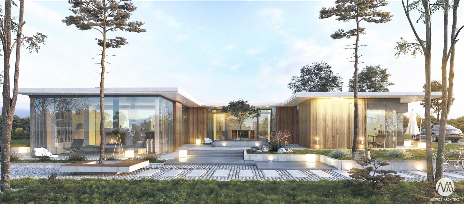 projekt Konin, projekty indywidualne, płaski dach, duże przeszklenie, modernizm, minimalizm, dom z patio