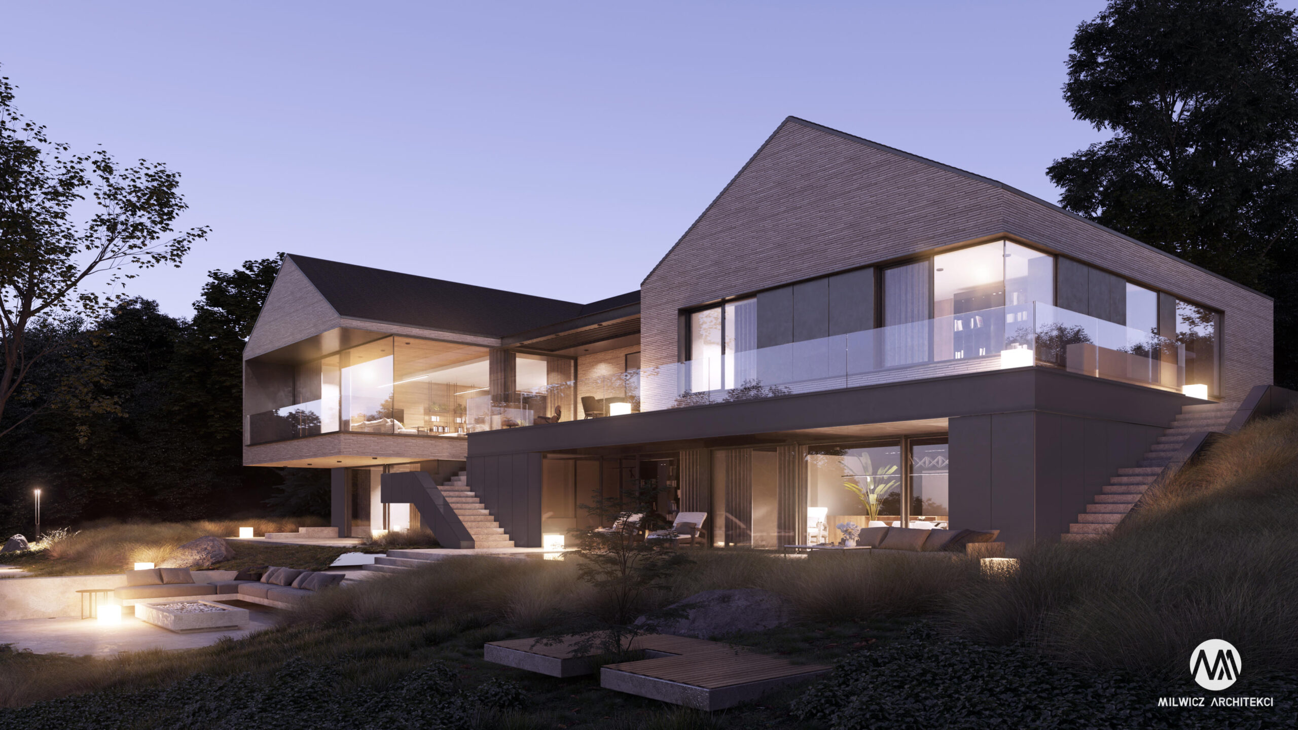 projekty indywidualne, nowoczesna architektura, modernizm, płaskie dachy, duże okna, nowoczesna stodoła