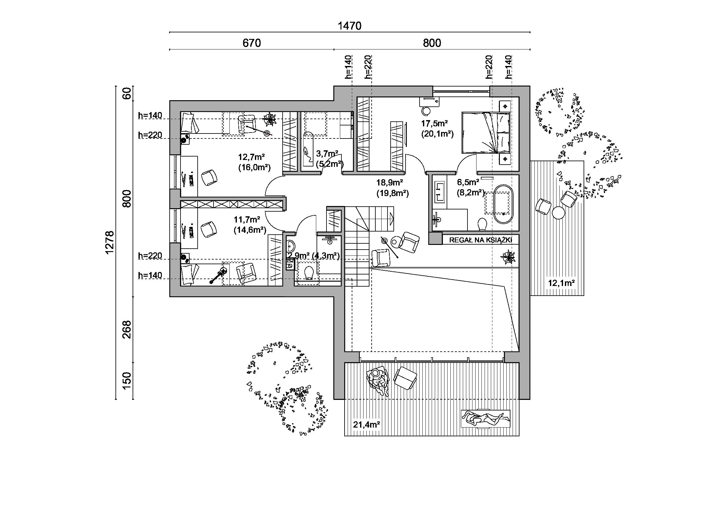 rzut D144/180, rzut, projekt domu