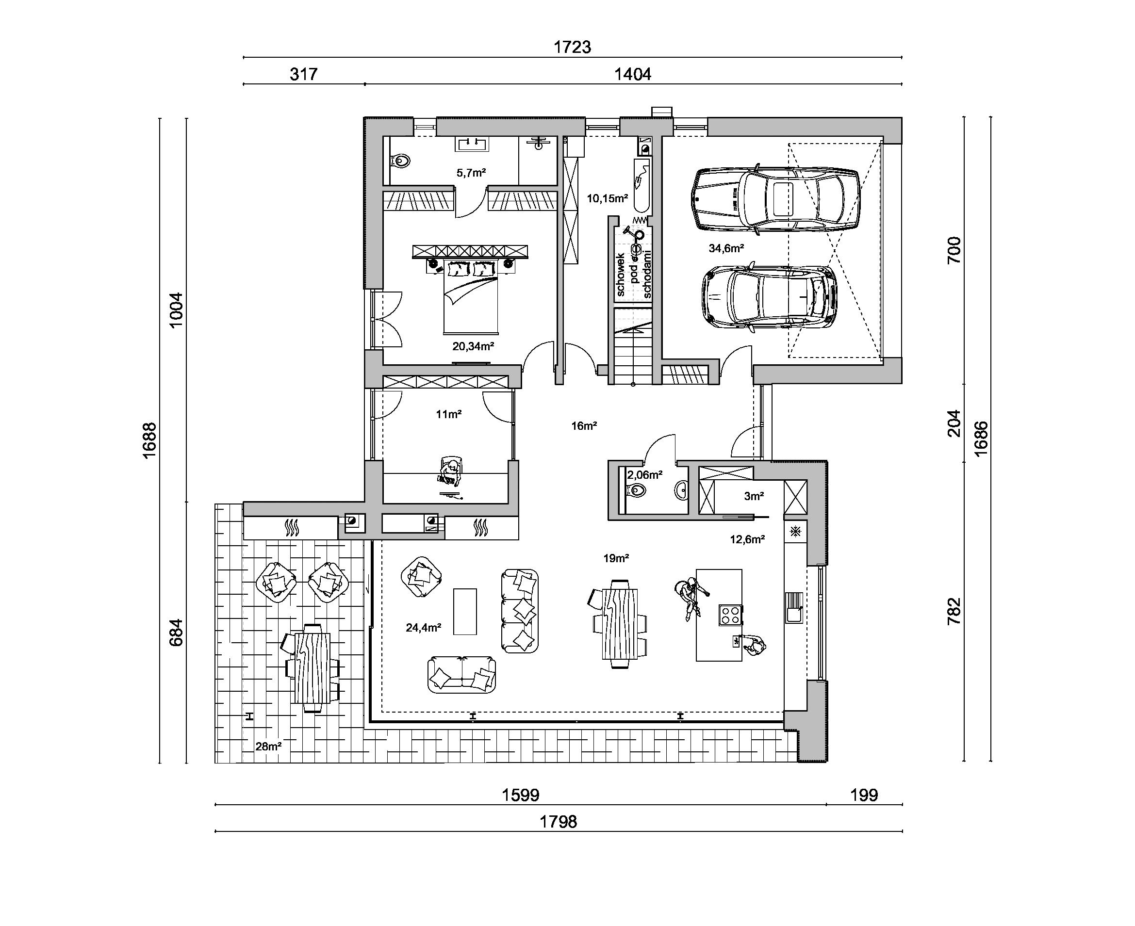 rzut D170v2, rzut, projekt domu, dom z garażem