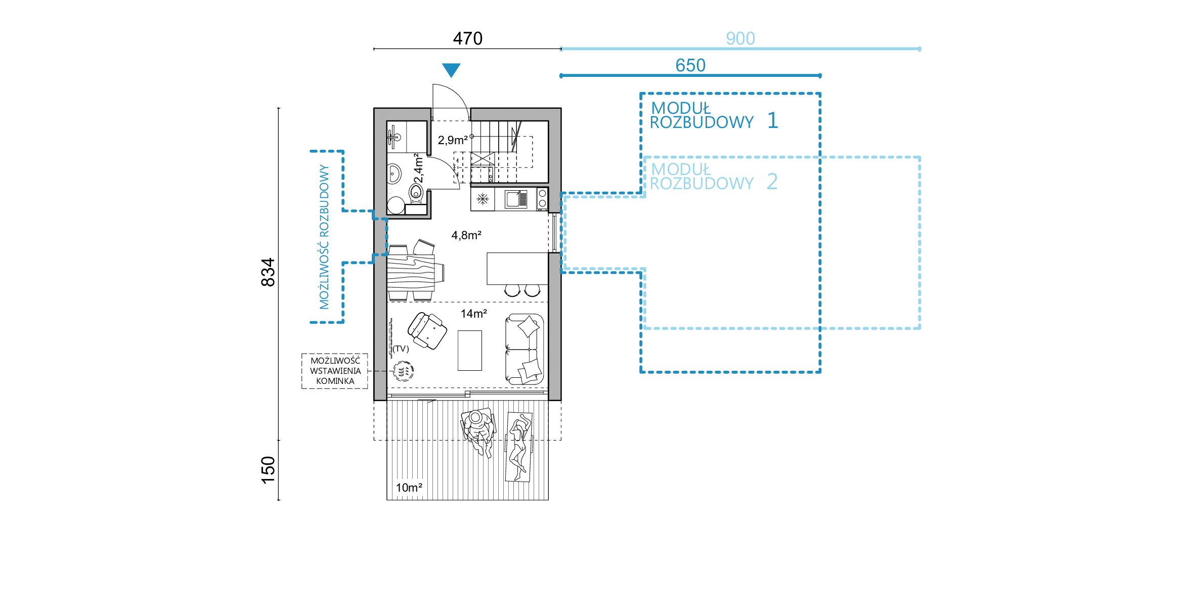 rzut D35v4, rzut, projekt domu, dom modułowy