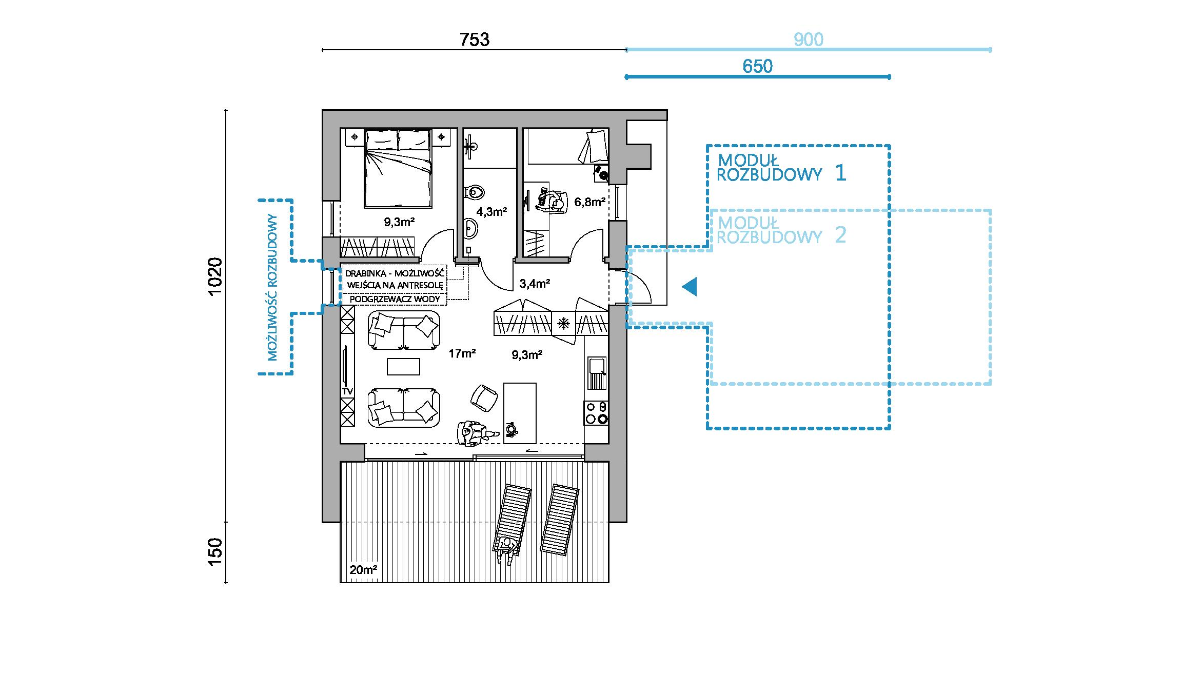 rzut D50, rzut, projekt domu, dom modułowy