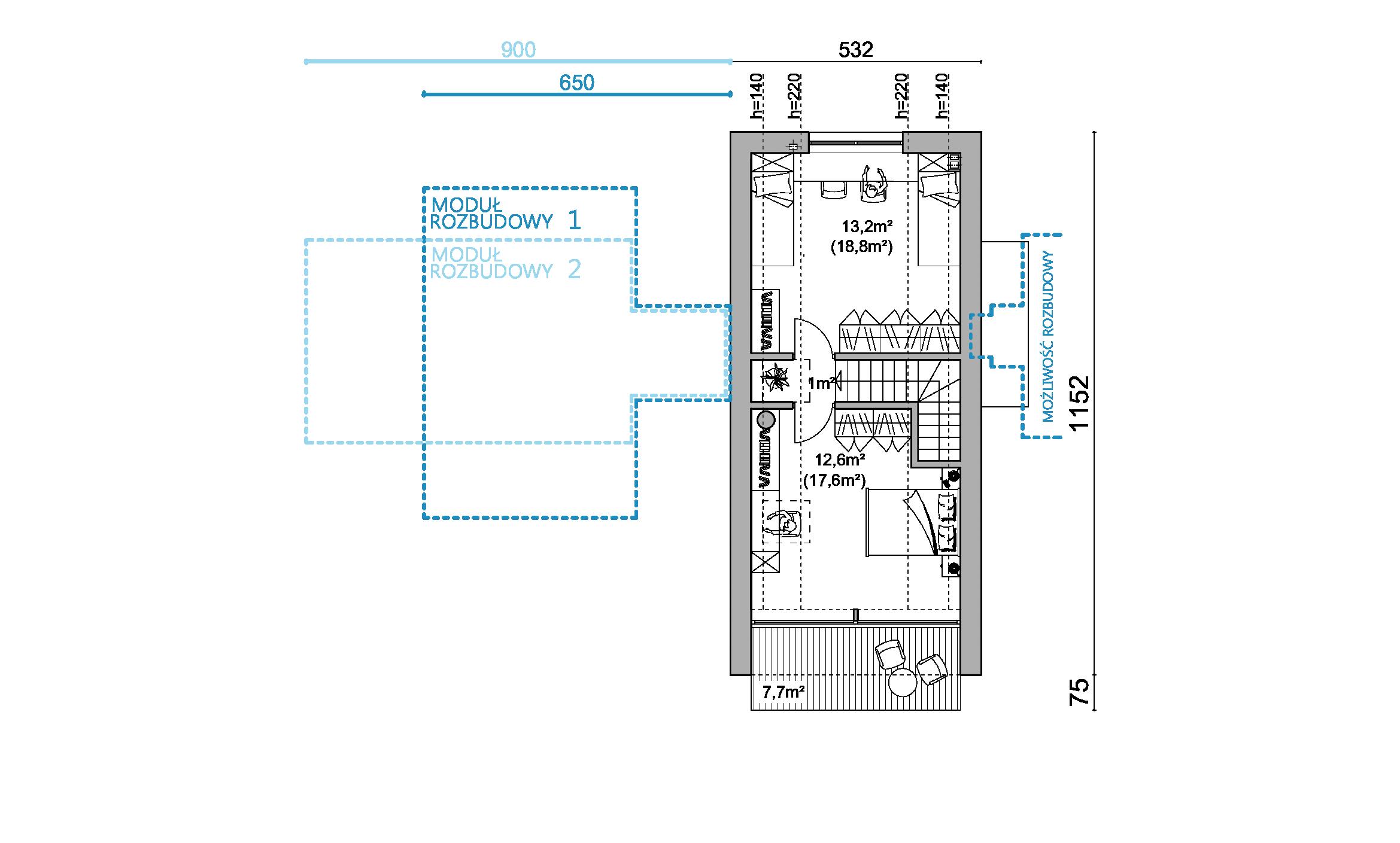 rzut D65, rzut, projekt domu, dom modułowy