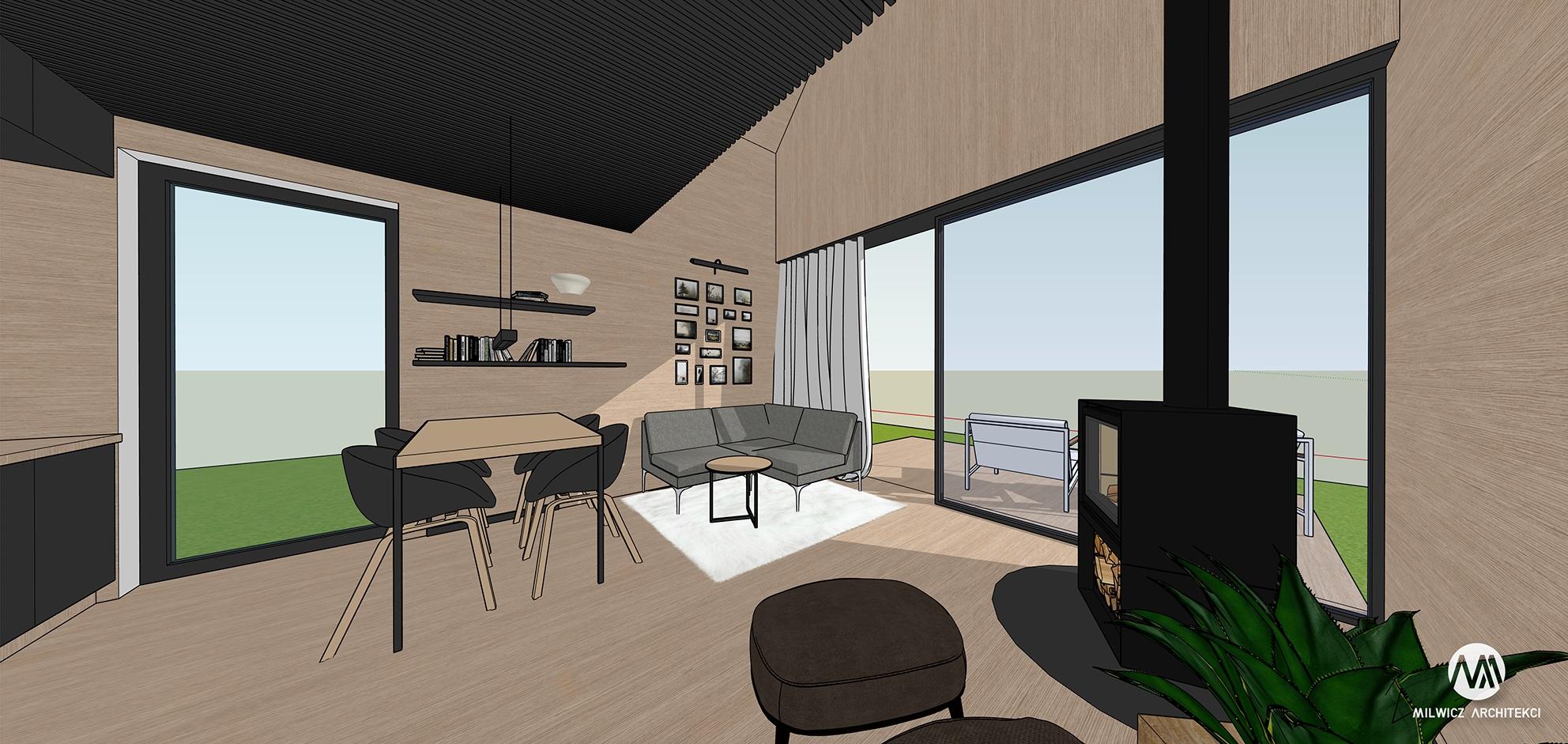 Projekt na zgłoszenie, projekt bez pozwolenia, dom do 35m2, mały dom, dom letniskowy, budynek rekreacji indywidualnej, konstrukcja szkieletowa, HBE, CLT, nowoczesna stodoła, nowoczesna architektura, energooszczędny, ekonomiczny, ekologiczny, budynek całoroczny, budynek pasywny, zeroenergetyczny, modułowy, z rozbudową, drewniany, przeszklona fasada, glamping, slowhop, dom pod miastem, projekt gotowy, dom na wąską działkę, tani dom, piękny projekt, z antresolą, wysoki salon, duże oknajpg