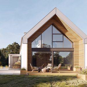 Projekt na zgłoszenie, projekt bez pozwolenia, dom do 35m2, mały dom, dom letniskowy, budynek rekreacji indywidualnej, konstrukcja szkieletowa, HBE, CLT, nowoczesna stodoła, nowoczesna architektura, energooszczędny, ekonomiczny, ekologiczny, budynek całoroczny, budynek pasywny, zeroenergetyczny, modułowy, z rozbudową, drewniany, przeszklona fasada, glamping, slowhop, dom pod miastem, projekt gotowy, dom na wąską działkę, tani dom
