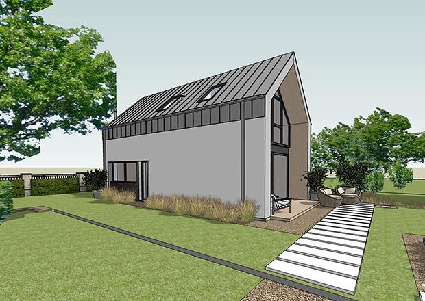 Projekt na zgłoszenie, projekt bez pozwolenia, dom do 35m2, mały dom, dom letniskowy, budynek rekreacji indywidualnej, konstrukcja szkieletowa, HBE, CLT, nowoczesna stodoła, nowoczesna architektura, energooszczędny, ekonomiczny, ekologiczny, budynek całoroczny, budynek pasywny, zeroenergetyczny, modułowy, z rozbudową, drewniany, przeszklona fasada, glamping, slowhop, dom pod miastem, projekt gotowy, dom na wąską działkę