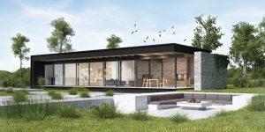 projekt indywidualny Biernatki, projekt indywidualny, płaski dach, modernizm
