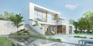 projekt indywidualny Bydgoszcz, modernizm, płaski dach,, duże przeszklenie