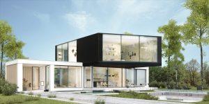 projekt indywidualny Kalisz, modernizm, projekt indywidualny, dach płaski, duże przeszklenie