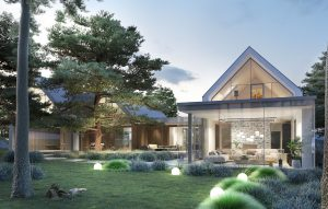 projekt indywidualny Mielno, projekt indywidualny, nowoczesna stodoła, dom z drzewem, duże przeszklenie