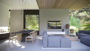 projekt indywidualny Mielno, duże przeszklenie, minimalizm, beton architektoniczny, sufit drewniany