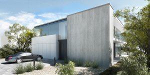 projekt indywidualny Poznań, beton architektoniczny, duże przeszklenie, modernizm