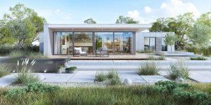 projekt indywidualny Puszczykowo, dom z patio, dom z dziedzińcem, dom z drzewem, projekt indywidualny, duże przeszklenie