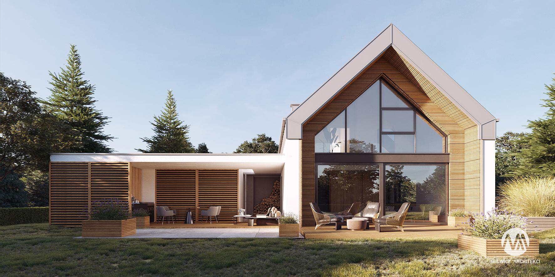 projekt D35 v1, projekt gotowy, nowoczesna stodoła, dom jednorodzinny z poddaszem użytkowym, rozbudowa, moduły, dom modułowy, budownictwo modułowe